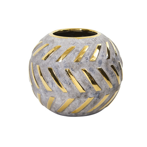 """Multicolor 6"""" Regal Round Stone Vase with Gold Accents - 5.5"""""""