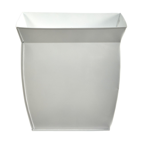 """White 11.75"""" Fluted Metal Square Planter - 11.5"""""""