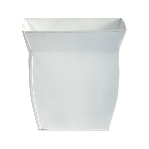 """White 8"""" Fluted Metal Square Planter - 8"""""""