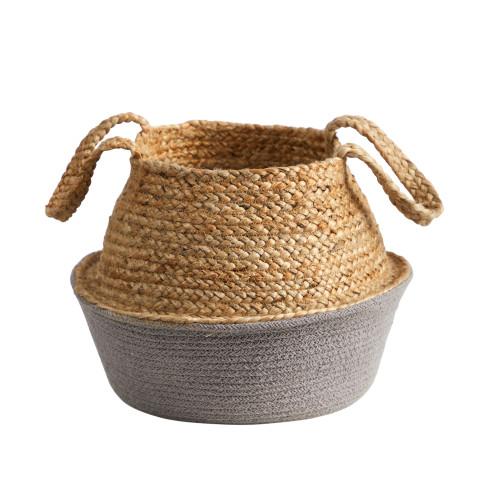 "Multicolor 14"" Boho Chic Handmade Cotton & Jute Gray Woven Planter - 12"""