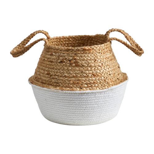 "Multicolor 14"" Boho Chic Handmade Cotton & Jute White Woven Planter - 12"""
