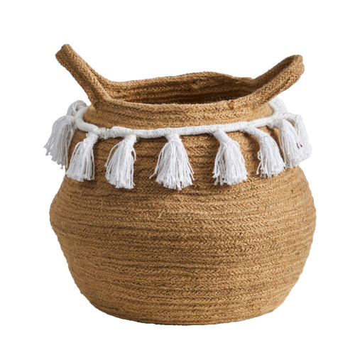"""Multicolor 11"""" Boho Chic Handmade Natural Cotton Woven Planter with Tassels - 11"""""""