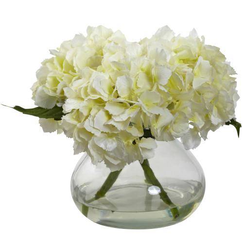 "Cream Blooming Hydrangea w/Vase - 8.5"""