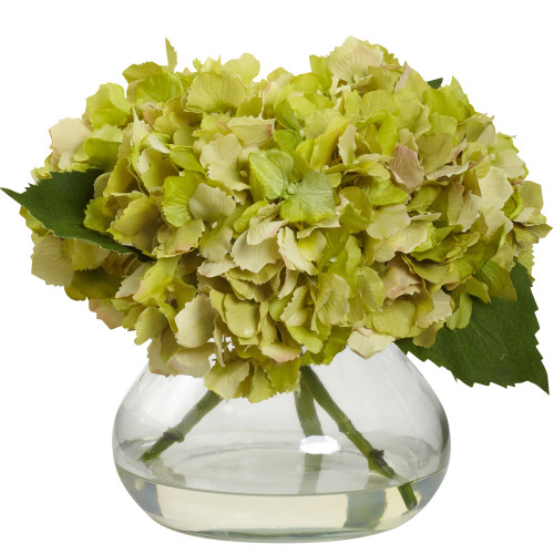 "Green Blooming Hydrangea w/Vase - 8.5"""