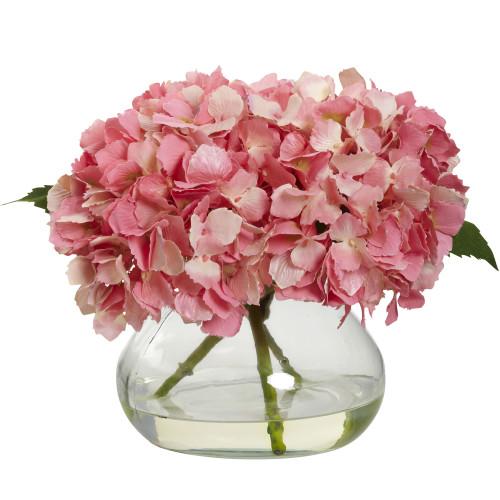 "Pink Blooming Hydrangea w/Vase - 8.5"""