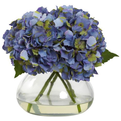 "Blue Large Blooming Hydrangea w/Vase - 9"""