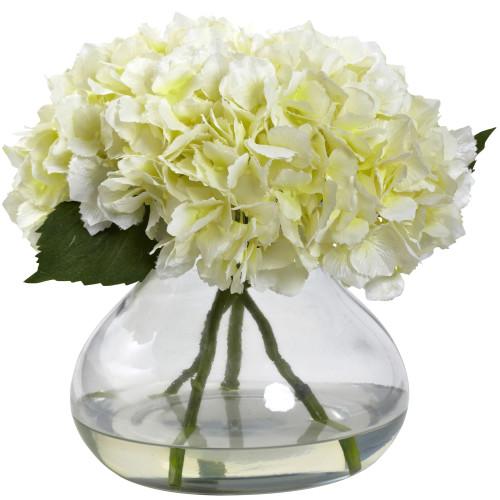 "Cream Large Blooming Hydrangea w/Vase - 9"""