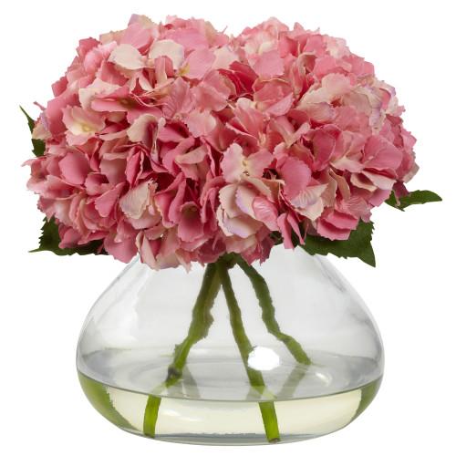 "Pink Large Blooming Hydrangea w/Vase - 9"""