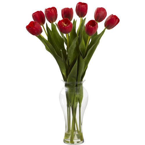 """Red 24"""" Tulips w/Vase - 24"""""""