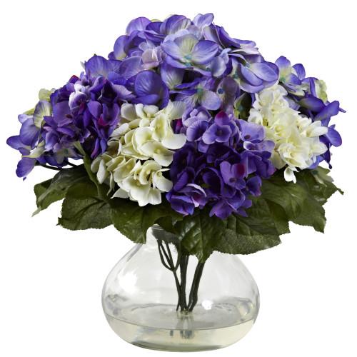 "Blue Purple Mixed Hydrangea w/Vase - 11"""