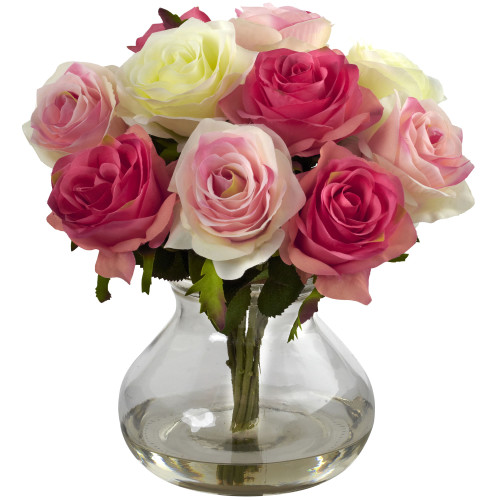 "Asstored Pastels Rose Arrangement w/Vase - 11"""