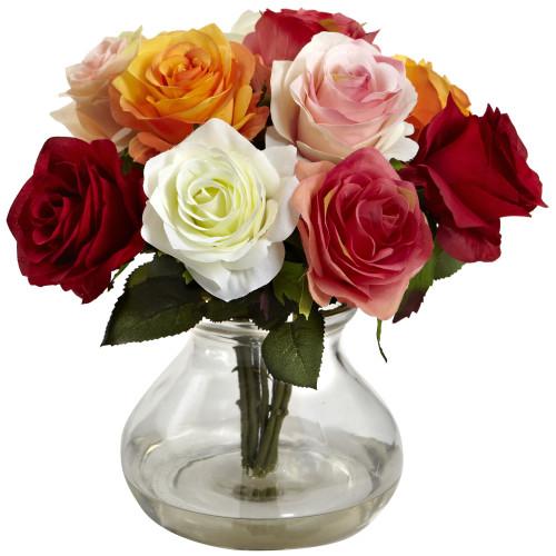 "Assorted Rose Arrangement w/Vase - 11"""