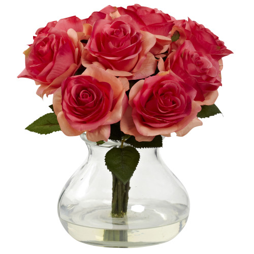"""Dark Pink Rose Arrangement w/Vase - 11"""""""