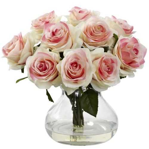 """Light Pink Rose Arrangement w/Vase - 11"""""""