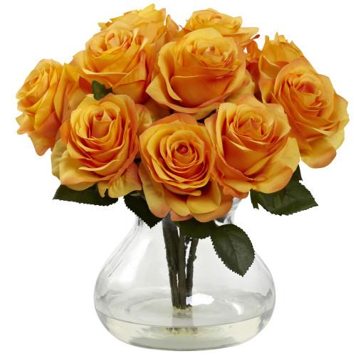 "Orange Yellow Rose Arrangement w/Vase - 11"""