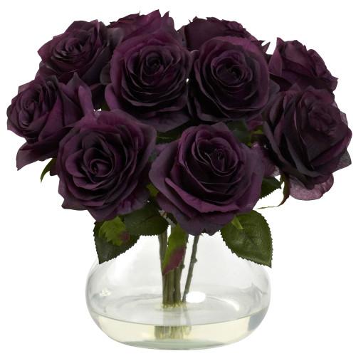"Purple Elegance Rose Arrangement w/Vase - 11"""