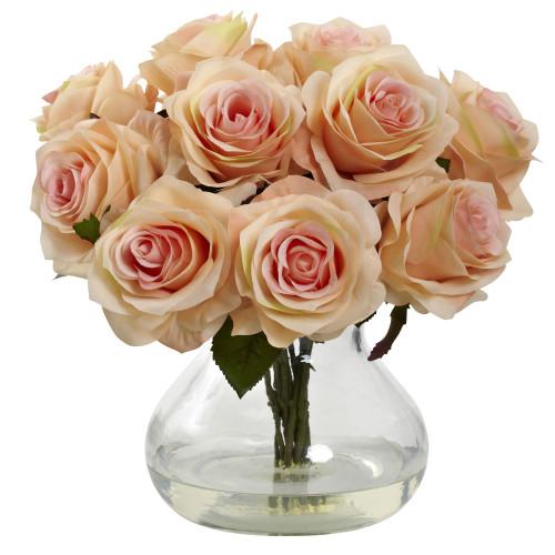 """Peach Rose Arrangement w/Vase - 11"""""""