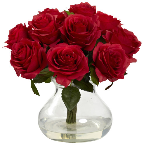 "Red Rose Arrangement w/Vase - 11"""