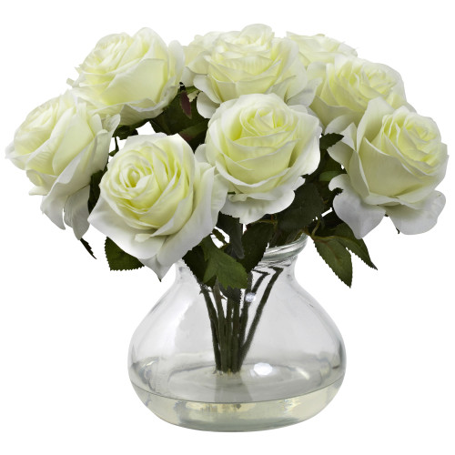 "White Rose Arrangement w/Vase - 11"""