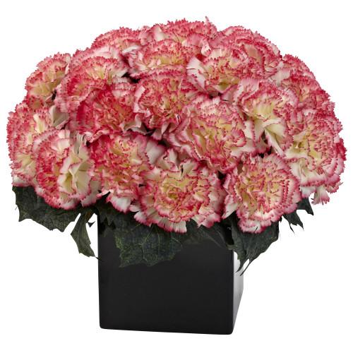 """Cream Pink Carnation Arrangement w/Vase - 11"""""""