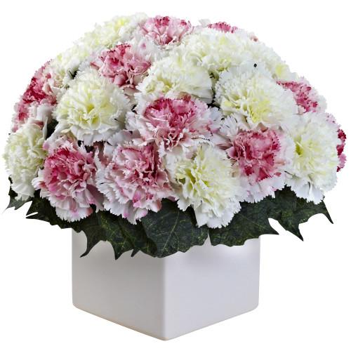 """Mauve White Carnation Arrangement w/Vase - 11"""""""
