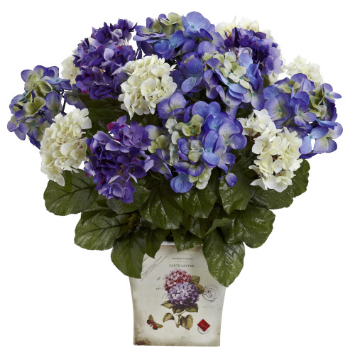 "Blue Purple Mixed Hydrangea w/Floral Planter - 19"""