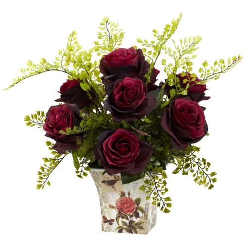 "Burgundy Rose & Maiden Hair w/Floral Planter - 13"""