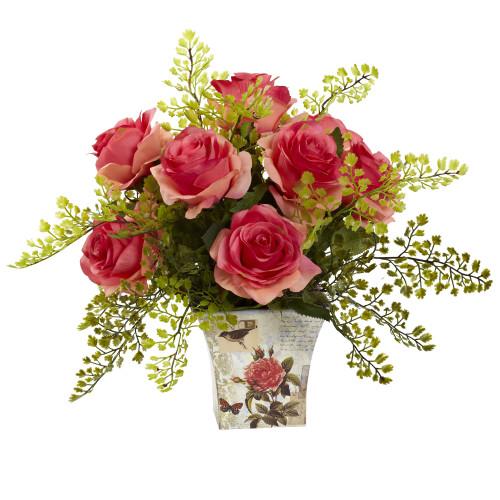 """Dark Pink Rose & Maiden Hair w/Floral Planter - 13"""""""
