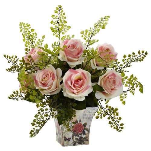 "Light Pink Rose & Maiden Hair w/Floral Planter - 13"""