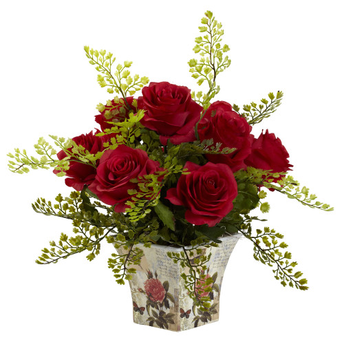 """Red Rose & Maiden Hair w/Floral Planter - 13"""""""