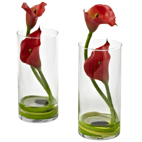 """Red Double Calla Lily w/Cylinder (Set of 2) - 10.5"""""""