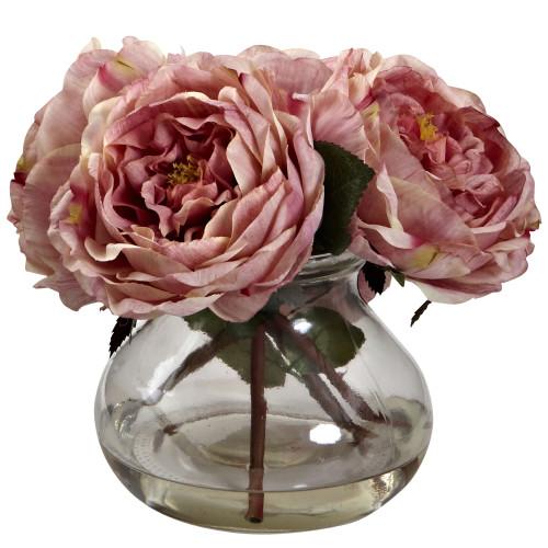 """Pink Fancy Rose w/Vase - 8"""""""