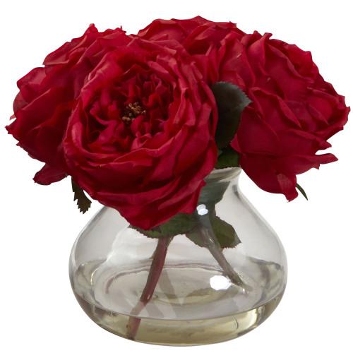 """Red Fancy Rose w/Vase - 8"""""""