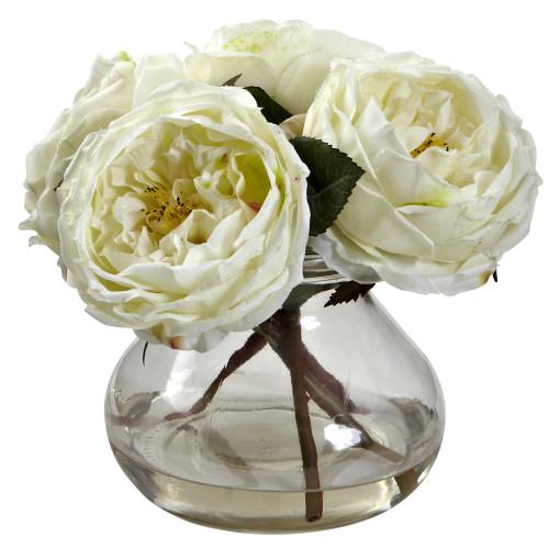 "White Fancy Rose w/Vase - 8"""