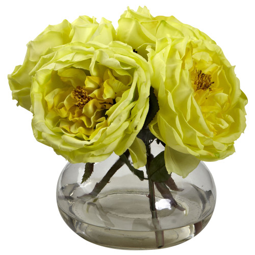"Yellow Fancy Rose w/Vase - 8"""