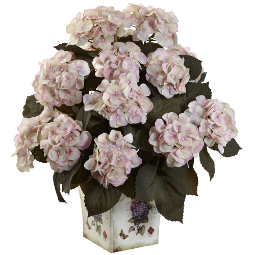 "Cream Pink Hydrangea w/Large Floral Planter - 23"""