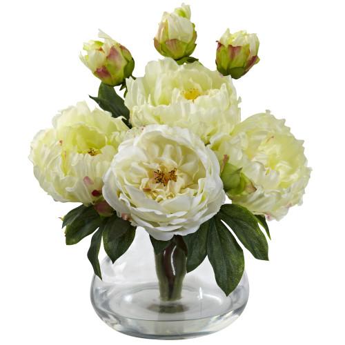 """White Peony & Rose w/Vase - 14.5"""""""