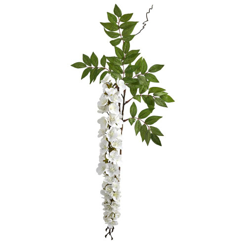 """White Wisteria Artificial Flower (Set of 8) - 28"""" (2369-S8-WH)"""