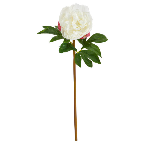"""White 20"""" Peony Artificial Flower (Set of 3) - 20"""""""