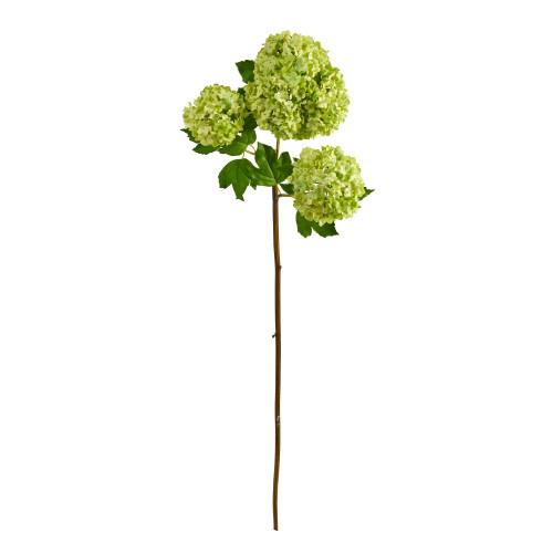 """Green 33"""" Snowball Hydrangea Artificial Flower (Set of 2) - 33"""""""