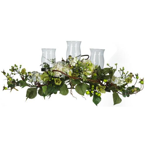 "Cream Hydrangea Triple Candleabrum Centerpiece - 12.5"""