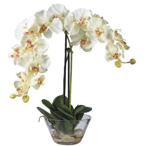 "White Phalaenopsis w/Glass Vase Faux Silk Flower Arrangement - 18"""