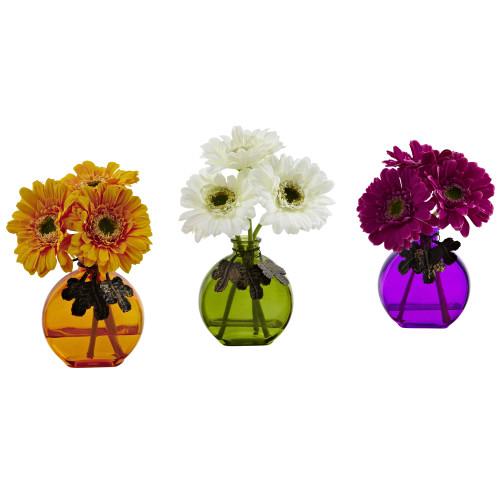 "Multicolor Gerber Daisy w/Colored Vase (Set of 3) - 9"""