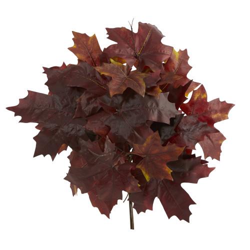 "Burgundy 18"" Autumn Maple Leaf Artificial Flower (Set of 2) - 18"""
