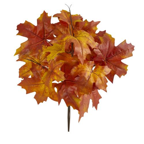 "Orange 18"" Autumn Maple Leaf Artificial Flower (Set of 2) - 18"""
