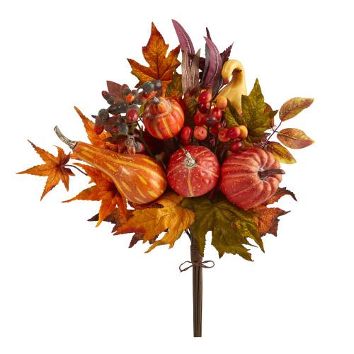 "Multicolor 20"" Pumpkin and Maple Leaf Artificial Flower Bouquet (Set of 2) - 20"""
