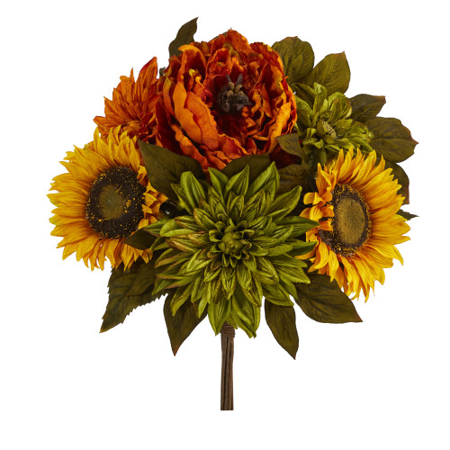 "Multicolor 16"" Peony, Dahlia and Sunflower Artificial Flower Bouquet (Set of 2) - 16"""