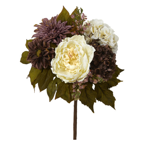 "Multicolor 16"" Peony, Hydrangea and Dahlia Artificial Flower Bouquet (Set of 2) - 16"""