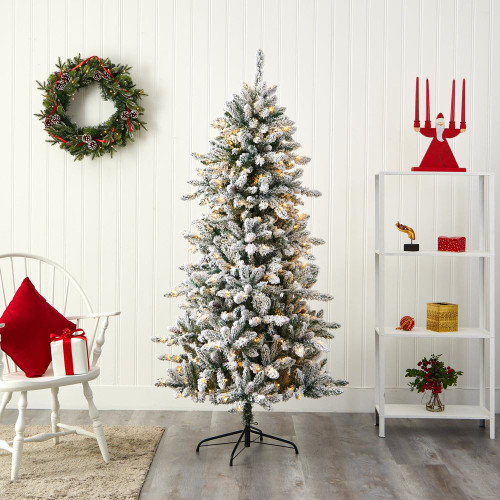 Multicolor Flocked Livingston Fir Artificial Christmas Tree with Pine Cones and 300 Clear Warm LED Lights - 6.5 Ft. (T1612)