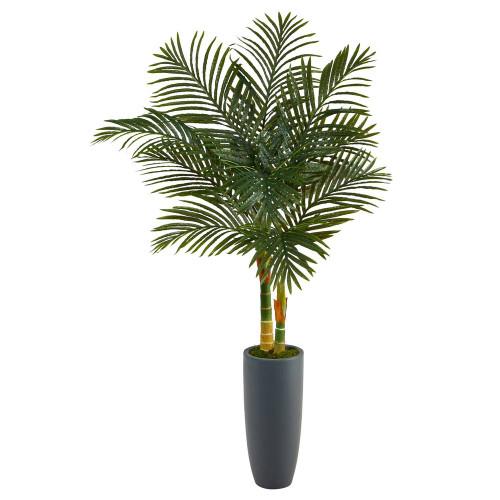 "Multicolor Golden Cane Artificial Palm Tree in Gray Planter - 58"" (T2212"